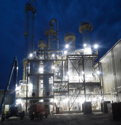 Renewable fuels - fuel ethanol plant at night