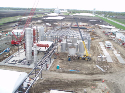 fuel ethanol plant during construction