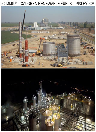 Calgren Renewable fuels plant before and after photos in Pixley California