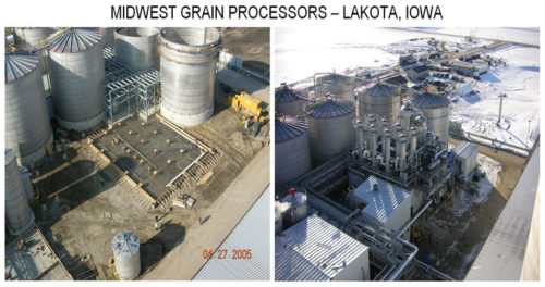Midwest grain processor plant equipment before and after, Lakota Iowa.