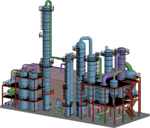 Fuel ethanol plant rendering